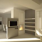 Il bianco utilizzato per tutte le strutture schermanti, mentre il grigio per dare profondità all'ambiente. La luce rigorosamente a gradazione calda.
