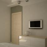 Anche nella camera da letto la struttura in cartongesso disegna lo spazio.