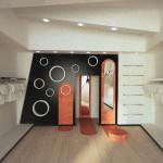 Preliminare di progetto per la parete di fondo: l'idea di una parete specchio per dare profondità e allo stesso tempo arredare con elementi contenitori