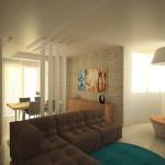 Progetto della zona relax_divano lineare