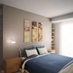 vista della camera da letto con muro in cartongesso per cabina armadio