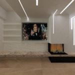 fase di progetto esecutivo_dettaglio del camino e dell'illuminazione in tavernetta